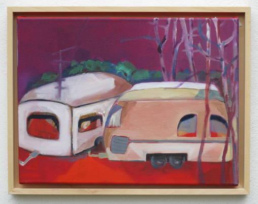 Caravan / Camping - Öl auf Leinwand