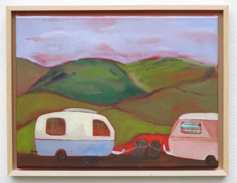 Caravan III / Camping - Öl auf Leinwand