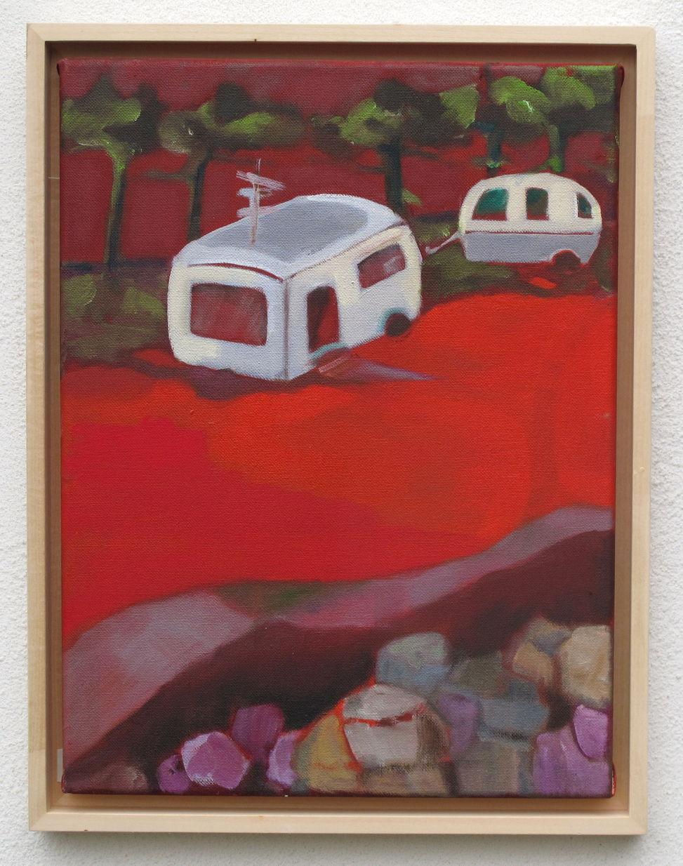 Caravan IV / Camping - Öl auf Leinwand