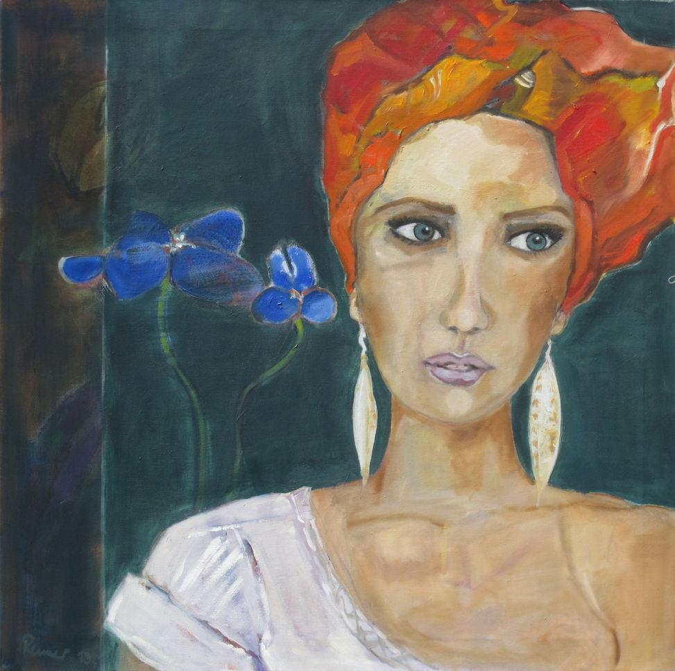 Frau mit Turban / Öl auf Leinwand