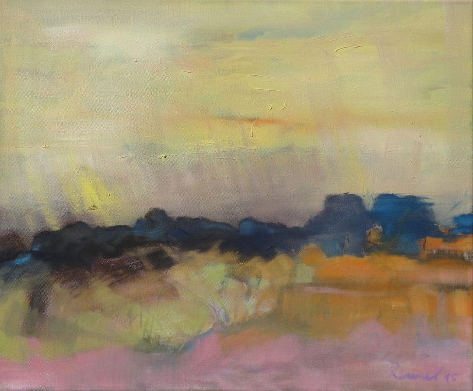 hellgeblber Regenhimmel - 50 x 60 cm/Öl auf Leinwand - 2015