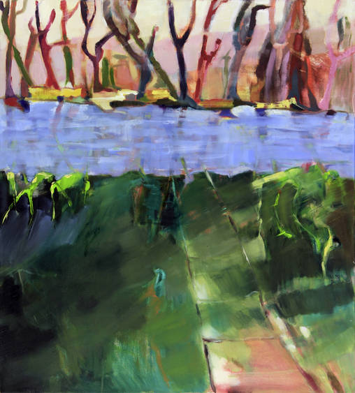 im Fluss (2009) . 100 x 90 cm - Öl auf Leinwand (Archiv Tom)
