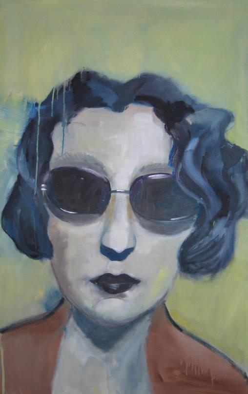 Portrait mit Sonnenbrille - 100 x 60 cm (2008) - Öl a. LW