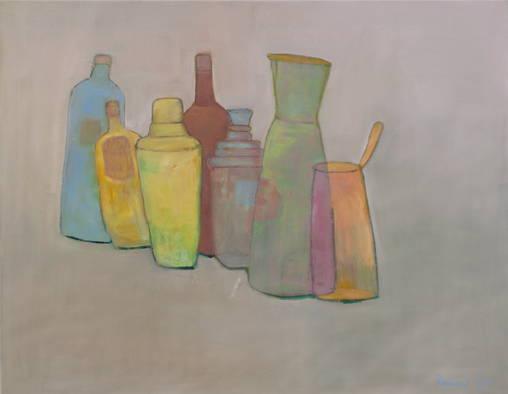Stilleben m. Flaschen - 90 x 115 cm/Öl auf Leinwand - 2015