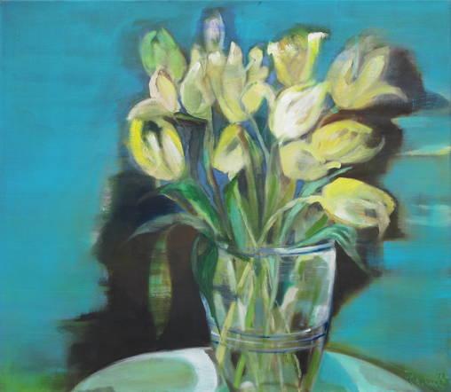 Stilleben m. gelben Tulpen - 70 x 80 cm / Öl a. W - 2012