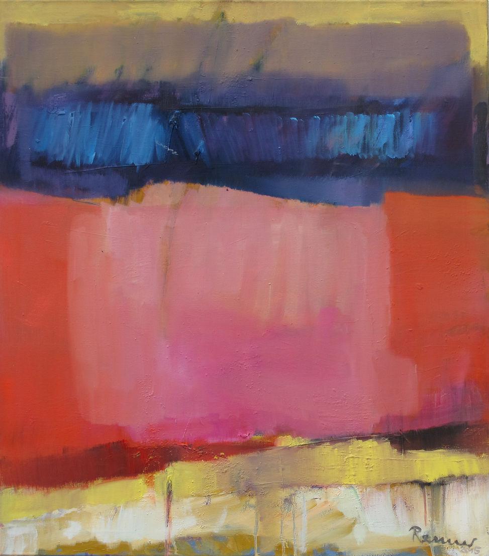 Rosa mitten in Rot - 90 x 70 cm / Öl auf Leinwand - 2015