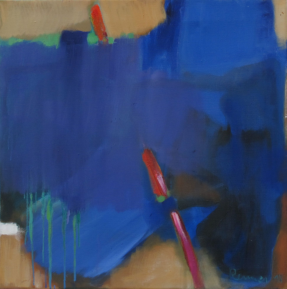 o. T. (blaue Serie) - 50 x 50 cm - Öl/LW - 2018