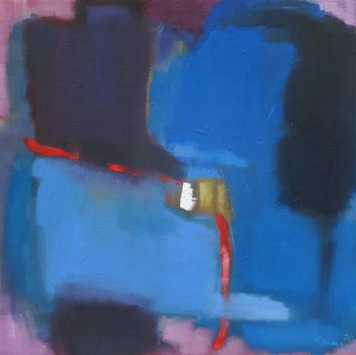 o.T. II (blaue Serie) - 50 x 50 cm - Öl/LW - 2018